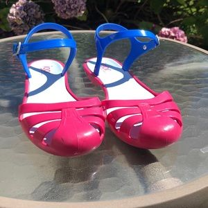 Igor Hot Pink Blue Jellies Made In Spain Sz. 36/6
